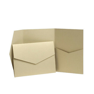 Light Gold Pearlescent Pocketfold WEDDING invitations with envelopes. Wallets