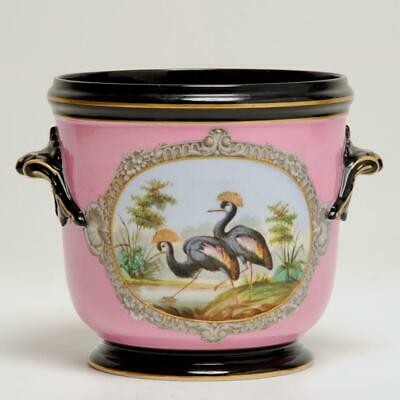 Antique Cachepot Pink W/ Crowned Crane Bird Scene & Gold Gilt Detail