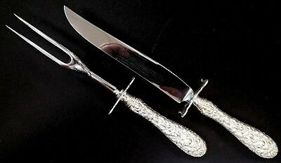 """Stieff """"Rose"""" repousse sterling silver carving set! 10 3/8"""" knife & 9 1/2"""" fork!"""