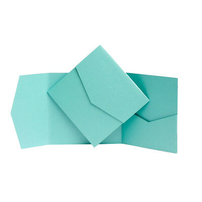 TURQUOISE PEARL Pocketfold invitations with envelopes. Pocket wedding Invites