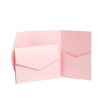 ROSE PINK PEARLESCENT Pocket invites with envelopes. Pocketfold INVITATIONS