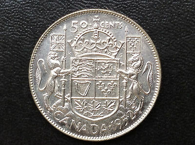 1952 Canada Fifty Cents George VI Silver Canadian Coin A1912