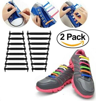 2X 16Pcs Easy No Tie Rubber Shoe Laces Colored Shoelaces Trainers Snicker Adult