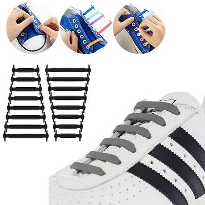 No Tie Elastic Silicone System Lock Shoes Laces Shoelaces Adults Kids Runner New