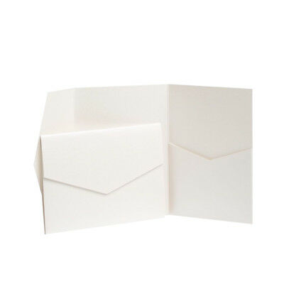 Pearl Pearlescent Pocketfold invitations with envelopes. Pocket invites. WEDDING