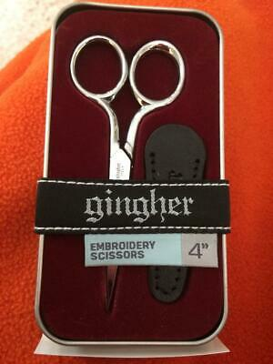 """Gingher 4"""" Classic Embroidery Scissors BRAND NEW Leather Sheath G-4 Italy In Tin"""