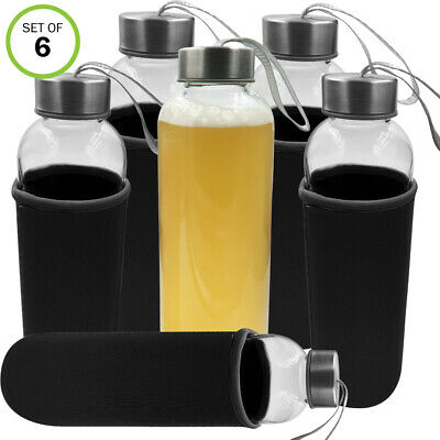 Evelots Glass Water/Juice Bottle-Sleeve-18 OZ-Easy Carry-Air Tight-No Leak-Set/6