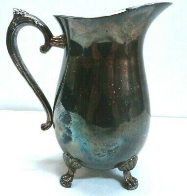 Vintage Silver Plate Claw Footed Water Pitcher with Ice Lip