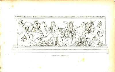 1832 Battle Of The Amazons :  Antique :  Vienna Gallery Engraved  Plate