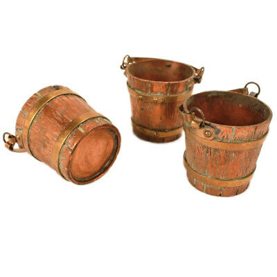 Three Antique Arts & Crafts Handmade Copper & Brass Miniature Buckets c. 1910s