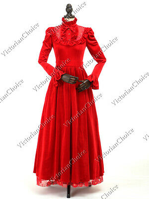 Victorian Edwardian Red Velvet Witch Dress Beetlejuice Halloween Costume 115