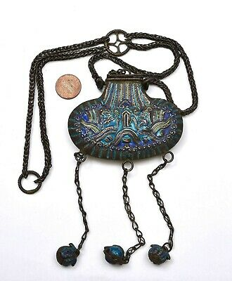 1930's Chinese Sterling Silver Enamel Perfume Pouch Bag Necklace