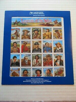 1994 US Legends of the West #2870 Error Sheet original envelope Bill Pickett