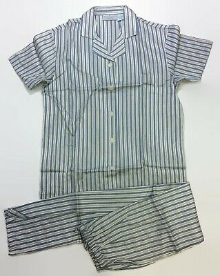 Allison Rhea Womens White Blue Pin Striped 100% Cotton Short Sleeved Pajamas