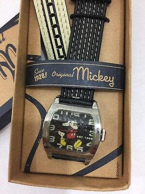 NEW Disney Mickey Mouse Watch Black Stitched Band In Box NEEDS BATTERY