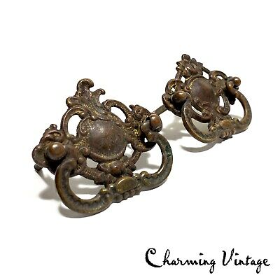 Pair of Antique Bronze Ornate Door Drawer Cabinet Handles