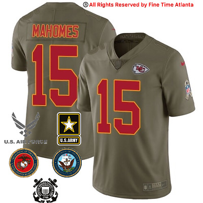 Patrick Mahomes Kansas City Chiefs Men's Olive Salute to Service Military Jersey