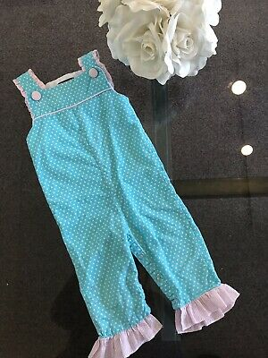 8239865978a Lil Cactus Girl s Blue Pink Striped Ruffle Jumpsuit size 12-18 months Orig.