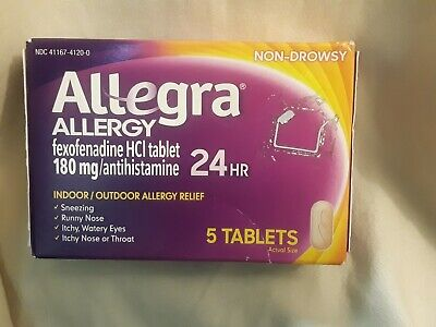 Allegra Allergy 24HR Relief 180 mg 5 Tablets (New & Factory Sealed) Exp: 9/2019