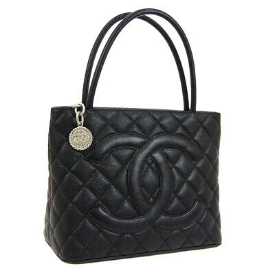 e005ffb8cb93 Auth CHANEL Medallion Quilted CC Hand Tote Bag Black Caviar Skin Leather  AK32231
