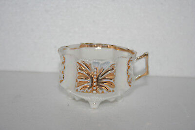 Antique Iridescent Bone China Emboss Moriage Slip Demitasse Footed Cup Gold Gilt
