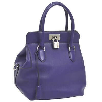 4b7074231d13 Authentic HERMES TOOLBOX 20 2way Hand Bag Purple Veau Swift France SHW  NR12997