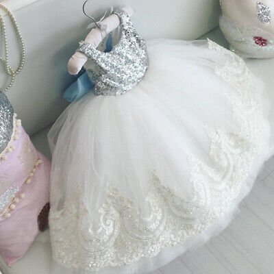 Infant Baby Girl Lace Tutu Bowknot Dress Pageant Party Birthday Wedding Princess