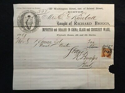1869  Richard Briggs Importer Dealer  Boston Letterhead Ephemera!  Rare History!