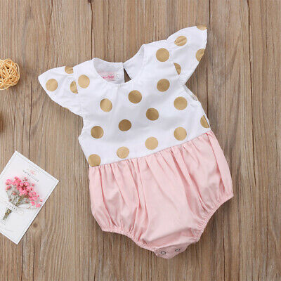 Newborn Baby Girl Summer Cotton Ruffle Romper Sleeveless Jumpsuit Outfit Clothes