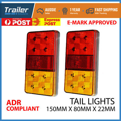 2x TRAILER LIGHTS 8 LED STOP TAIL INDICATOR REFLECTOR TRUCK CAMPER LIGHT