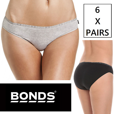 6 x BONDS BIKINI HIPSTER BRIEFS Underwear Black Grey Undies Bottoms New Panties