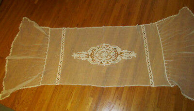 Antique French Net & Battenburg Tape Lace Bedspread Pillow Cover~Header~Runner