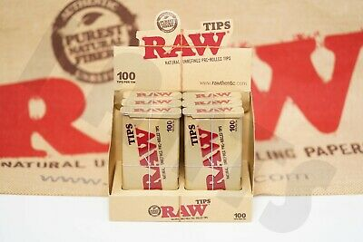 Full Box 6 Tins(100 Tips Per Tin) Of AUTHENTIC Raw Rolling Paper Pre-Rolled Tips