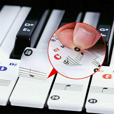 1 Sheet Removable Piano and Keyboard Stickers For Kids 49 61 76 88 Key
