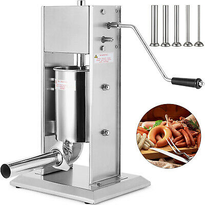 5L Sausage Filler Stuffer Stainless Steel Removable Barrel Manual 4 Funnels
