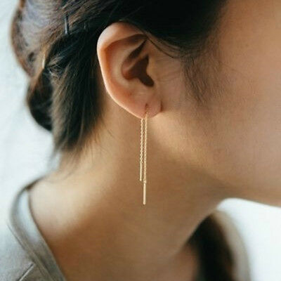 Women Simple Bar Pull Through Threader Long Chain Delicate Earrings Jewelry DS