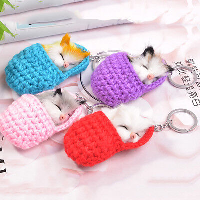 Cute Cat Key Chain Ring Keychains with Bell Handbag Car Pendant Trinkets DS