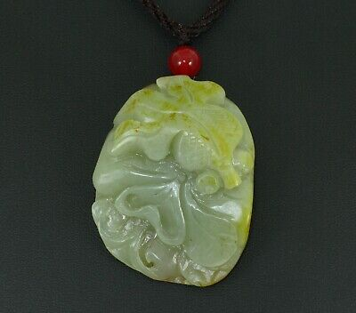 "2"" China Certified Nature Hetian Nephrite Jade Fortune Fish and Lotus Necklace"