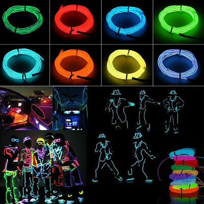 10M LED Flexible Neon Light Glow EL Strip Tube Cool Wire Rope Home Car Decor