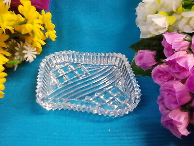 LOVELY CRYSTAL GLASS SHAPED DISH WITH PATTERNS - 11 x 8 x 2 cm H EC # 119