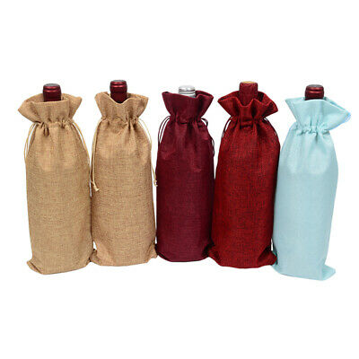 New Jute Wine Bags Red wine Bottle Covers Champagne Gift Pouch Burlap Z2A0