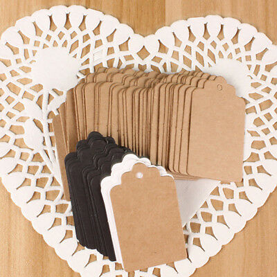 100Pcs Kraft Paper Wedding Party Home Hang Tag Gift Tags Lace Scallop Head Label
