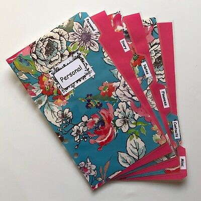 Personal Filofax Dividers in a Beautiful Blue Flower Labelled Design - Laminated