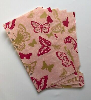 Personal Filofax Dividers in a Beautiful Butterflies Design - Fully Laminated
