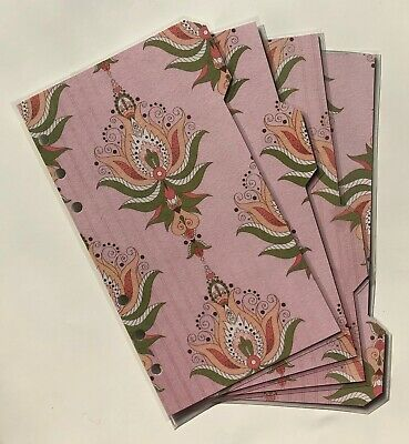 Personal Filofax Dividers in a Beautiful Pink Paisley Design - Fully Laminated