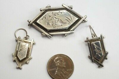 ANTIQUE ENGLISH SILVER AESTHETIC MOVEMENT KINGFISHER BROOCH & EARRINGS SET c1880