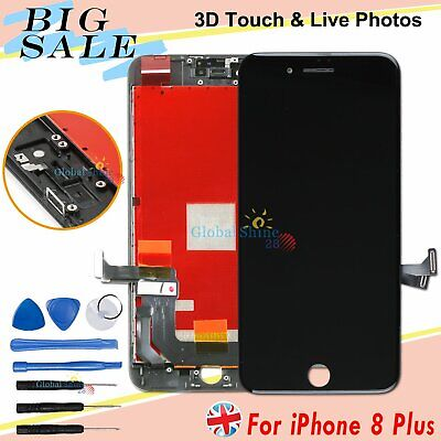 Black For iPhone 8 Plus LCD Display Touch Screen Digitizer Replacement + Frame