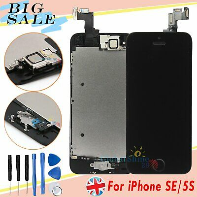 For iPhone SE 5S LCD Display Touch Screen Digitizer + Home Button Black Assembly
