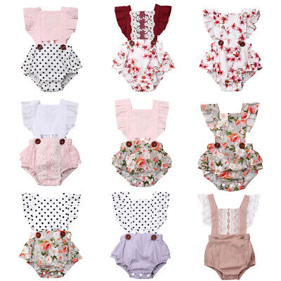 Baby Girls Infant Ruffle Lace Romper Bodysuit Jumpsuit Outfits Clothes Summer
