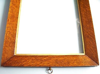 Antique Victorian Solid Oak Sully Profile Gilt Slip Picture Frame Old Glass 1850